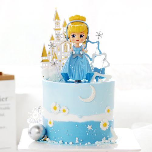 蛋糕装饰摆件蓝裙姑娘卡通人物城堡小雏菊雪花星星插件甜品台装扮