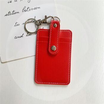 创意少女心可爱卡多功能二合一防消磁卡套公交门禁卡零钱收纳 纯红色