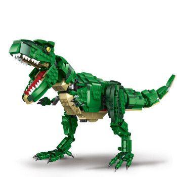 兼容乐高积木玩具恐龙系列霸王龙恐龙化石考古挖掘拼装侏罗纪世界公园
