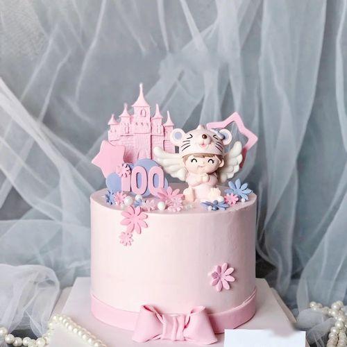 婴儿生日蛋糕装饰摆件可爱鼠宝宝满月一百天生肖鼠老鼠蛋糕配件