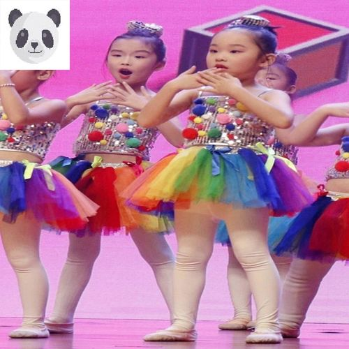 新款六一儿童演出服幼儿园舞蹈服女童蓬蓬纱裙爵士舞亮片表演服装