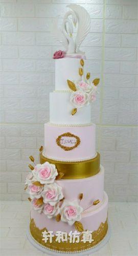 轩和翻糖蛋糕模型新款创意六层多层高端婚庆天鹅鲜花