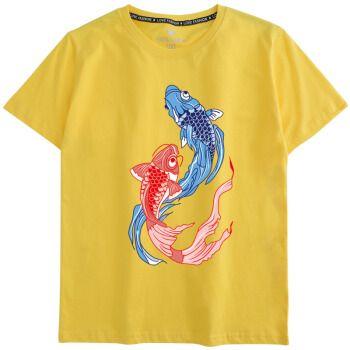 名考试穿的短袖t恤锦鲤满分高生红色团队衣服旗开得胜 黄色 鲤跃龙门