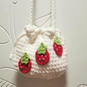 包包泫雅编织包手工自制海滩包包女度假编织 冰条红草莓斜挎包-带工具