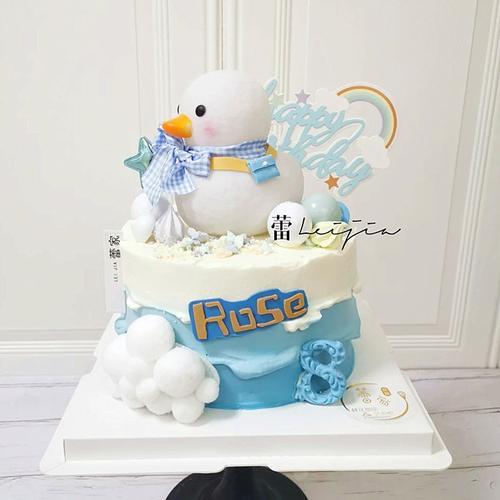 2021新款宝宝生日蛋糕烘焙装饰摆件可爱女生创意网红鸭子卡通男孩