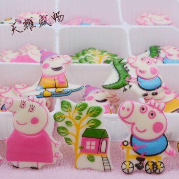 小猪和佩奇蛋糕装饰巧克力片乔治生日插牌可食用儿童卡通烘焙配件