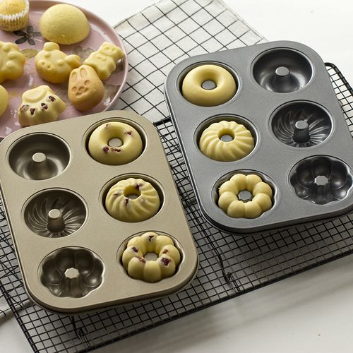 碳钢烘焙模具 不粘6连花形甜甜圈 空心蛋糕模 多连小