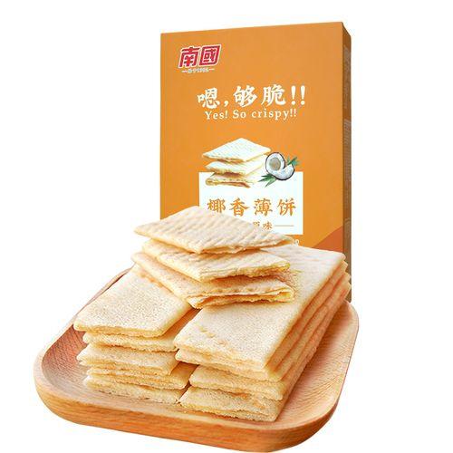 南国 椰香薄饼187g盒装 海南特产 休闲零食香薄脆饼干