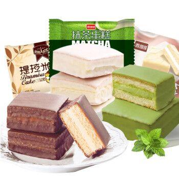 香当当抹茶蛋糕提拉米苏1000g网红芒果味零食推荐整箱