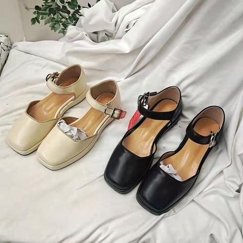 欧美潮鞋i休闲方头厚底一字扣中空鞋学生玛丽珍鞋复古