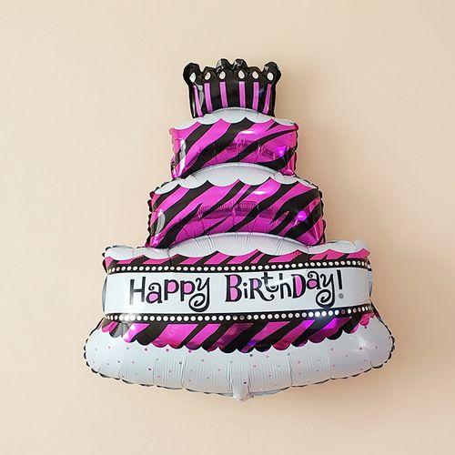 生日蛋糕铝箔气球生日蜡烛3层蛋糕气球生日派对