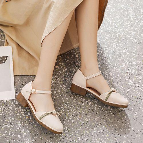 2021夏季新款玛丽珍鞋女士单鞋圆头粗跟一字式扣纯色