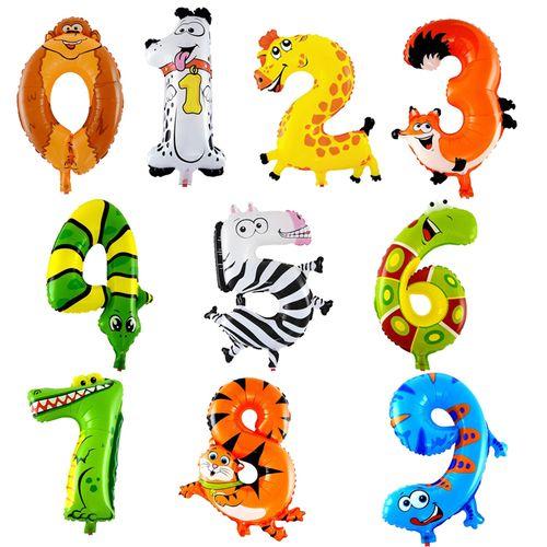卡通动物数字气球 宝宝周岁生日布置 儿童可爱卡通造型铝膜气球