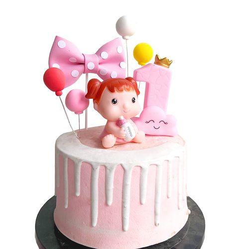 儿童蛋糕装饰 男孩女孩宝宝满月1周岁生日蛋糕装饰公仔 云朵插牌