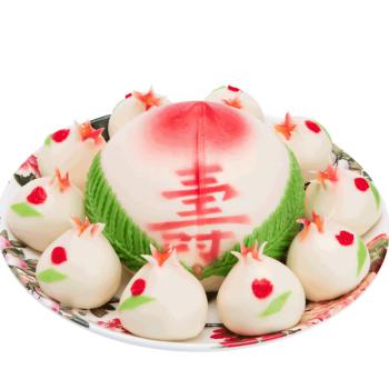 寿盈门寿桃生日蛋糕礼盒传统过寿贺寿送礼寿桃包馒头花馍点心过寿长包