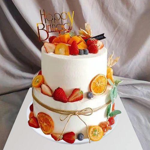 蛋糕模型仿真2020新款创意流行双层森系欧式水果橱窗