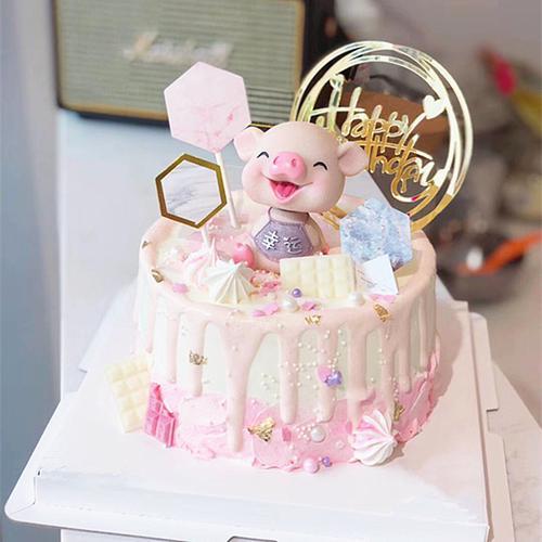 平安幸运猪蛋糕装饰摆件可爱摇头小猪生日网红配件