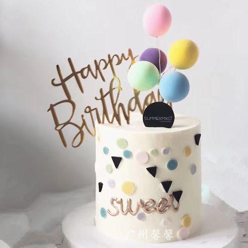 广州馨馨2019新款创意粘土告白气球亚克力英文插牌生日蛋糕模型