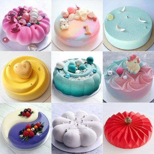 法式甜点硅胶慕斯蛋糕模具圆形花朵巧克力喷砂淋面