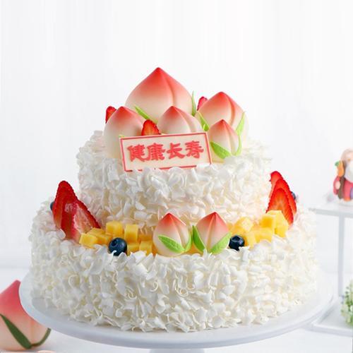 祝寿双层蛋糕模型仿真2021新款网红寿桃两层生日假