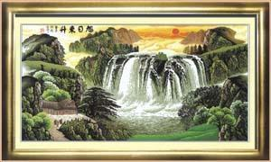 十字绣高清彩色印刷图纸风景fj002旭日东升cross