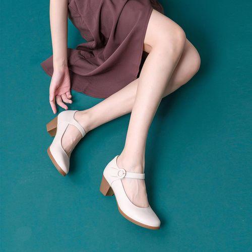 2021春季新款【专柜同款】真皮粗跟舒适复古玛丽珍鞋
