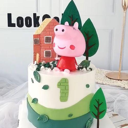儿童节小猪佩琪生日蛋糕装饰摆件 粉色小猪大头变形蛋