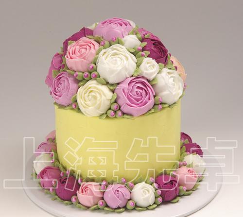 【正品】上海先卓仿真蛋糕模型 塑胶生日蛋糕模型 新款韩式裱花
