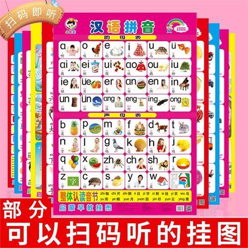 拼音表挂图无声儿童汉语拼音看图补习班幼儿小学生