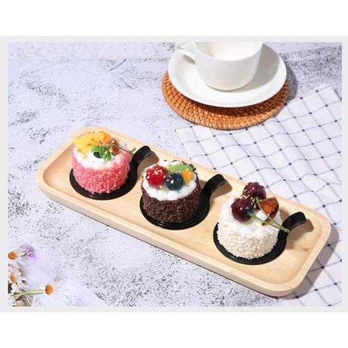 高档黑色蛋糕慕斯底托一次性塑料西点托甜品托三角圆形100个包邮