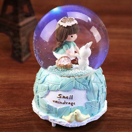 水晶球音乐盒旋转女生送女孩儿童生日礼物天空之城