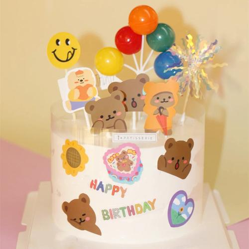 网红ins复古可爱小熊贴纸蜡烛宝宝女孩生日蛋糕摆件