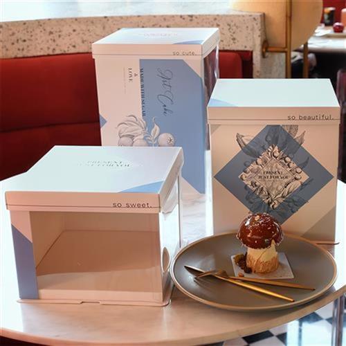 半透明网用蛋糕盒包装盒生2b加高寸家红风盒子定制20