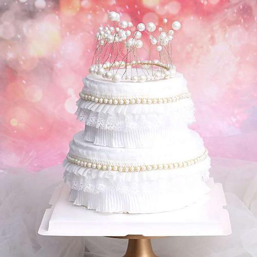 网红唯美珍珠蕾丝蛋糕围边   生日蛋糕装饰  蛋糕插件