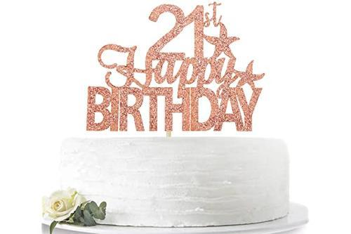 玫瑰金闪光 21 岁生日快乐蛋糕装饰,hello 21,二十岁