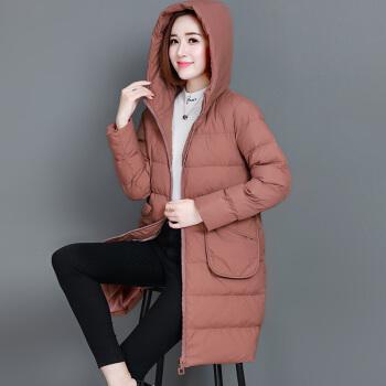 款棉服女中长款百搭棉袄2020新款秋冬季中年妈妈潮大码棉衣外套 锈红