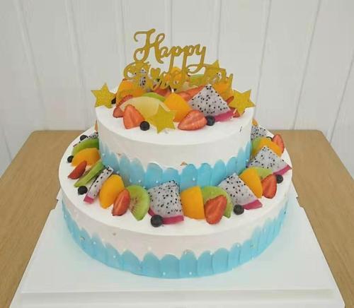 仿真蛋糕模型2021新款双层水果生日蛋糕模型欧式假