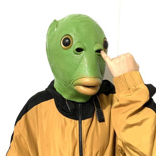 动漫派对流行节日拍摄马头套狗头套硅胶头套鱼人绿