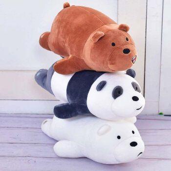 咱们裸熊毛绒玩具公仔趴趴熊抱枕可爱三只小熊布娃娃玩偶 棕熊+胖达