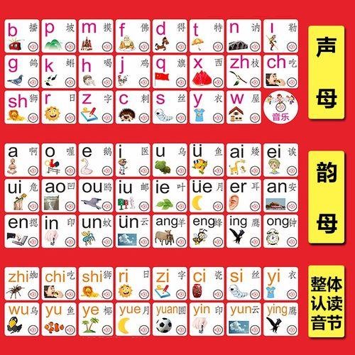 挂墙幼童拼音表布置奖品汉语拼音有声挂图文化声母表