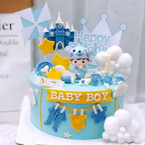 鼠宝宝周岁生日蛋糕装饰摆件可爱卡通福鼠男孩女孩宝贝一岁啦插件