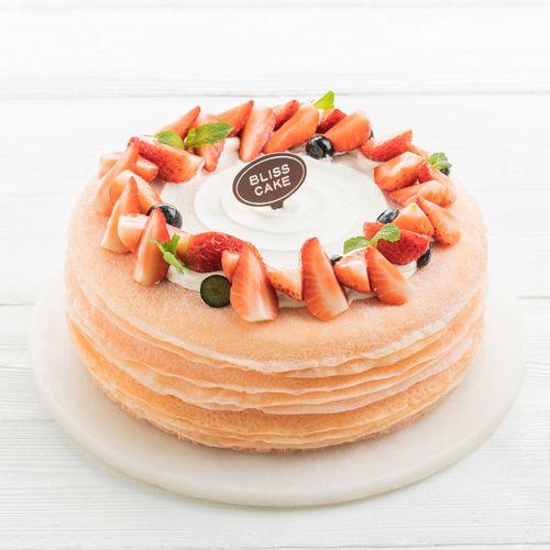 【草莓季,草莓可丽多】2磅草莓千层蛋糕,q软薄嫩手工煎制  2磅/208元