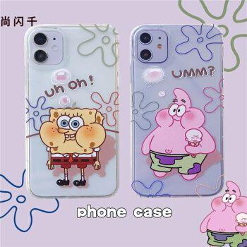 尚闪千 潮牌卡通海绵宝宝苹果11/xs/se2手机壳iphone12/xr透明硅胶7p
