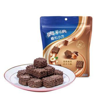 奥利奥(oreo)小方威化饼干  三层夹心粒粒装下午茶小零食 焙烤榛果