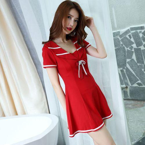 性感女装紧身显瘦气质低胸女装裙子技师工作服连衣裙