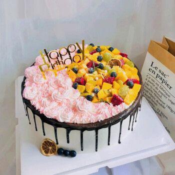 芙瑞多 8寸双拼蛋糕生日儿童祝寿聚会预定新鲜奶油生日蛋糕全国同城