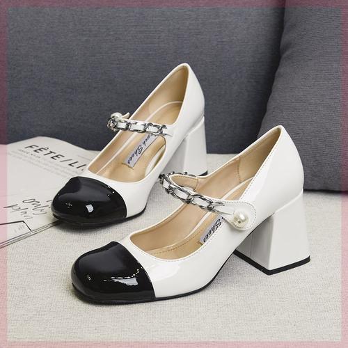 仙女鞋温柔中跟法式甜美单鞋复古粗跟珍珠玛丽珍鞋