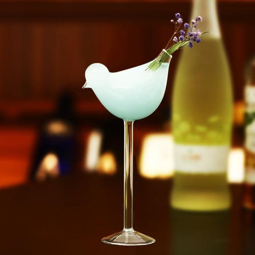 酒杯鸡尾酒杯烟熏小鸟高脚玻璃分子