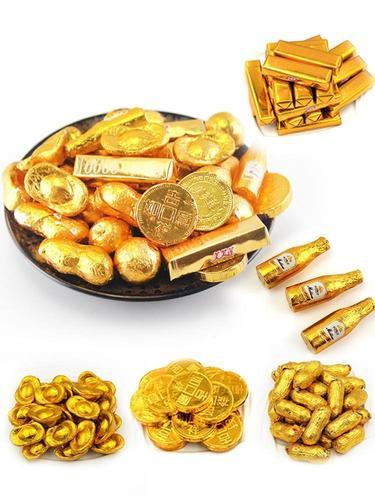 金币生日蛋糕装饰摆件金元宝金条花生巧克力暴富钱币