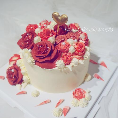 女神浪漫红色玫瑰花蛋糕(图片为6寸效果)